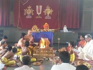 Festivals such as Goda Kalyanam, Sankranthi, Ugadi, Sri Rama Navami, Krushnashtami, Vijaya Dasami, Deepavali are celebrated by conducting special prayers and kalyanams. Homas are conducted on special occassions. Adithya Hrudaya havanam conducted at Veda Bhavan.