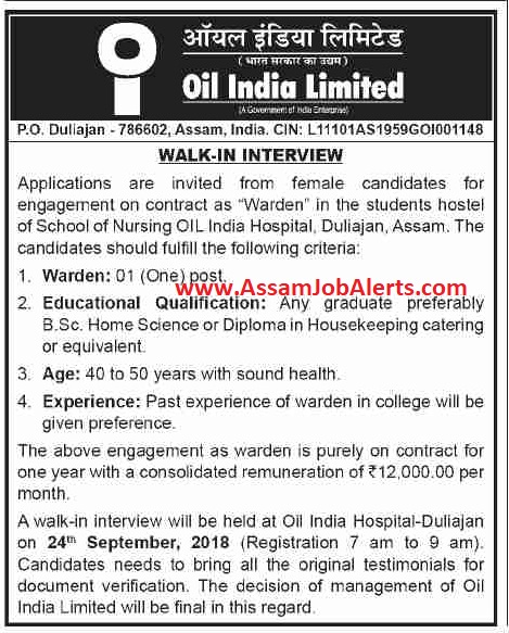 OIL India Hospital, Duliajan, Assam Walk In Interview For