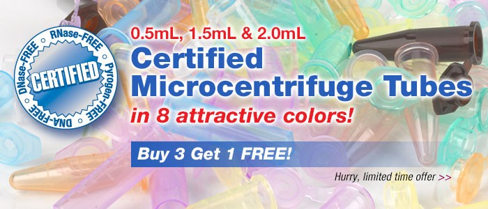 Globe Scientific  MicroCentrifuge tubes Buy three get one free sales