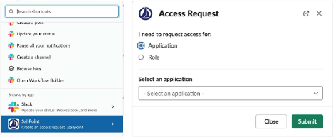 Figure 1 - Slack Request for Application or Role