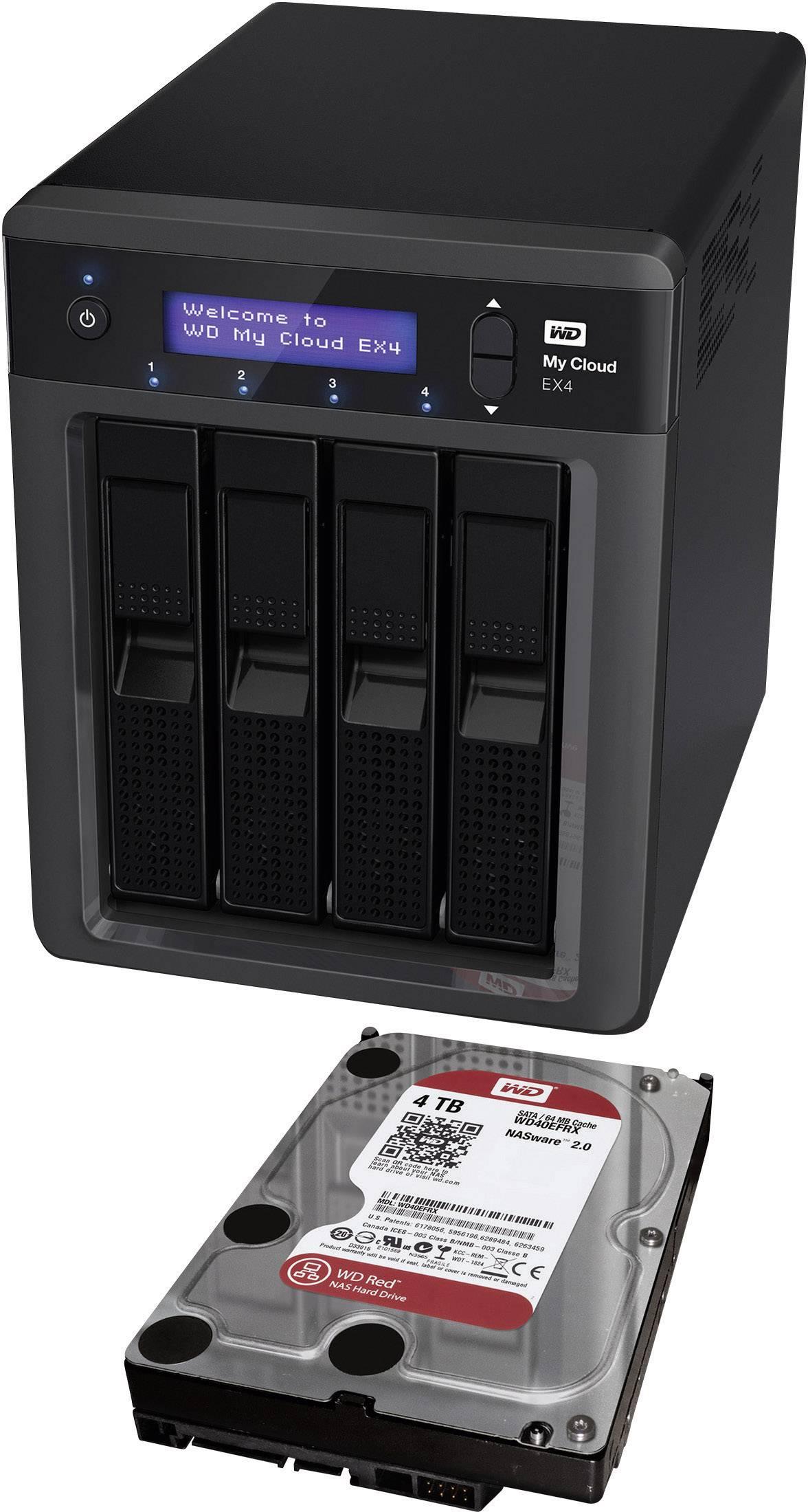 NAS-Server 16 TB Western Digital My Cloud EX4 persönlicher Cloud-Speicher (4x4TB) WDBWWD0160KBK-EESN bestückt mit WD RED kaufen