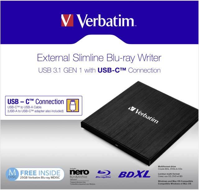 Verbatim External Slimline External Blu-ray writer Retail Black