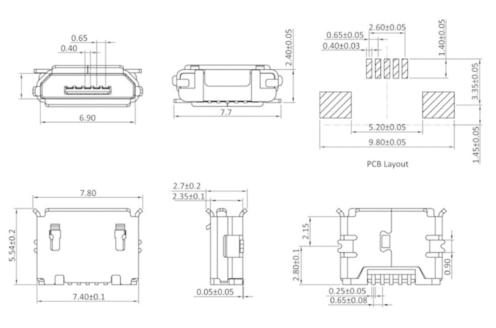 mounted socket micro usb socket horizontal mount micub5bbs 1 port econ [ 1000 x 1000 Pixel ]