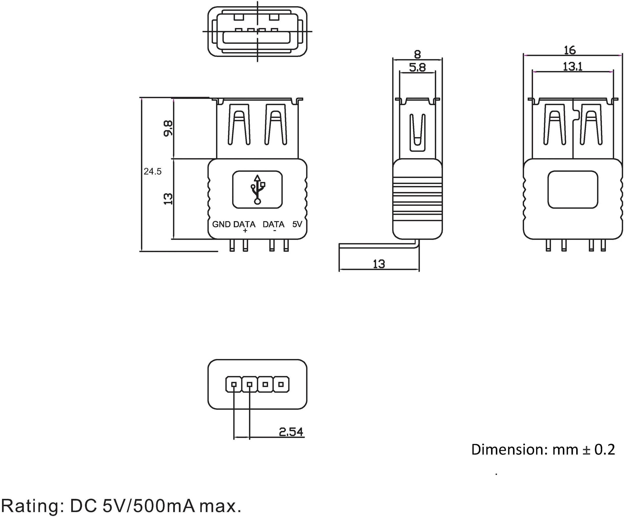 socket right angle socket right angle typ a 90 usb socket type a 90  [ 1000 x 1000 Pixel ]