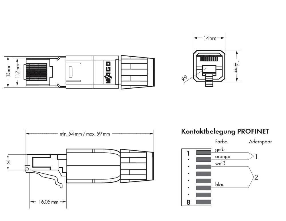 medium resolution of plc connector wago 750 976 profinet rj 45