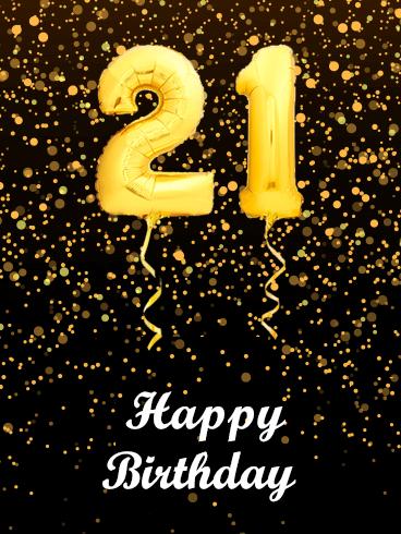 golden balloon happy 21st