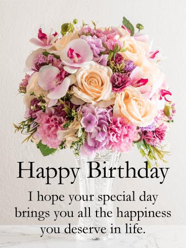 birthday flower cards for