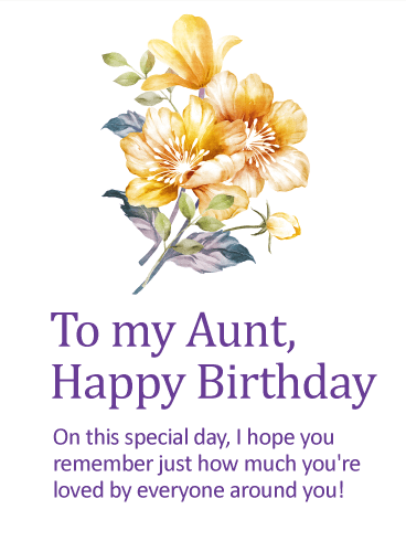 To My Warm & Caring Aunt Happy Birthday Wishes Card