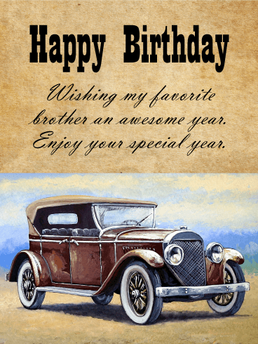 Happy Birthday Car Images : happy, birthday, images, Vintage, Happy, Birthday, Wishes, Brother, Greeting, Cards, Davia