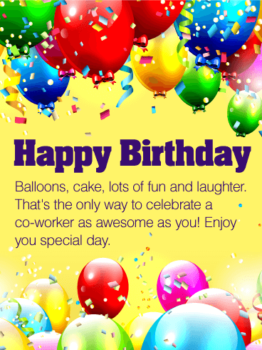 Birthday Card Messages For Coworker : birthday, messages, coworker, Birthday, Balloon, Wishes, Cards, Greeting, Davia, ECards