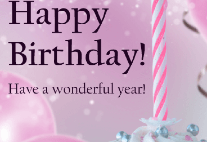 Pink Candle Birthday Cupcake Card For Daughter Birthday Greeting