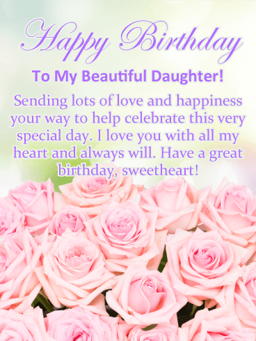 Birthday Cards For Daughter From Parents : birthday, cards, daughter, parents, Pretty, Roses, Happy, Birthday, Daughter, Greeting, Cards, Davia