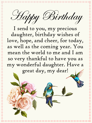 To My Precious Daughter Happy Birthday Card Birthday