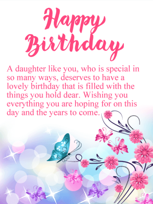 Sparkling Butterflies Happy Birthday Card for Daughter | Birthday &  Greeting Cards by Davia