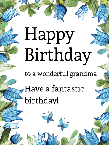 Blue Tulip And Butterfly Birthday Card For Grandma Birthday Greeting Cards By Davia