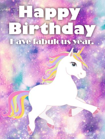 Sparkly Magical Girl Wallpaper Galaxy Unicorn Happy Birthday Card Birthday Amp Greeting
