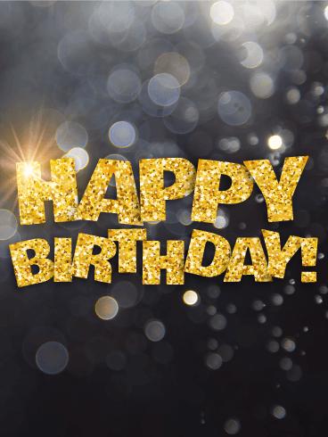 Shining Gold Happy Birthday Card Birthday Amp Greeting Cards By Davia