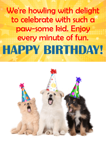 Happy Birthday Funny Kids : happy, birthday, funny, Paw-Some, Happy, Birthday, Wishes, Greeting, Cards, Davia