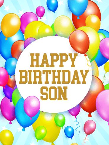 What To Write In Sons Birthday Card : write, birthday, Rainbow, Birthday, Balloon, Greeting, Cards, Davia