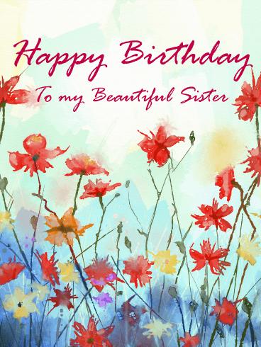 Birthday Card Painting : birthday, painting, Painting, Flower, Happy, Birthday, Sister, Greeting, Cards, Davia