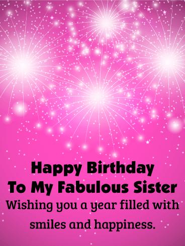 Glitter Happy Bday Sister : glitter, happy, sister, Birthday, Fireworks, Sister, Greeting, Cards, Davia