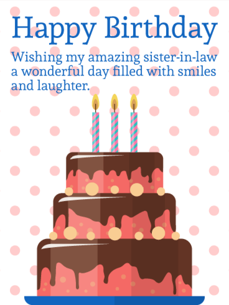 Birthday Cake Cards for Sister-in-Law | Birthday & Greeting Cards by Davia - Free eCards