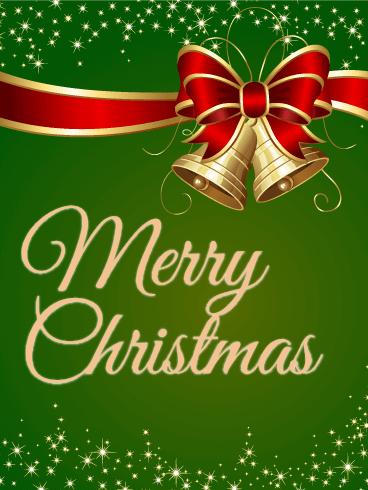 Sparkling Green Merry Christmas Card Birthday Amp Greeting