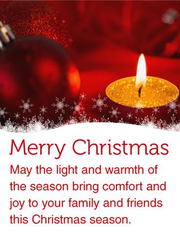 Warm Christmas Candle Light Card Birthday Amp Greeting