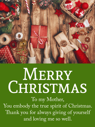 Chic Merry Christmas Wishes Card For Mother Birthday