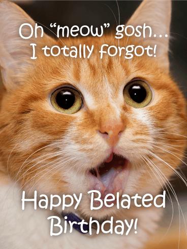 Happy Belated Birthday Cat : happy, belated, birthday, Belated, Birthday, Cards, Greeting, Davia, ECards