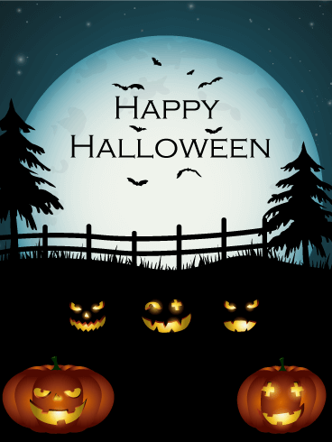 Pumpkins' Night Halloween Card Birthday & Greeting Cards