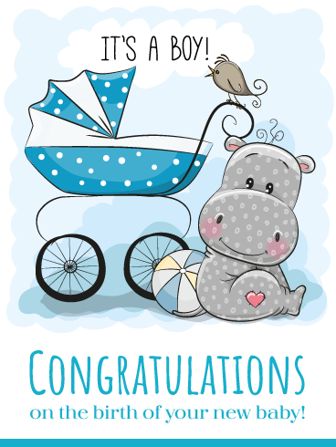 Congratulations On Baby Boy Images : congratulations, images, Little, Hippo, Cards, Birthday, Greeting, Davia
