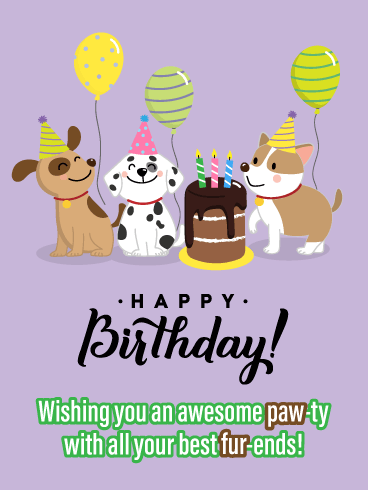 Happy Birthday Funny Kids : happy, birthday, funny, Paw-ty, Fur-iends-, Funny, Birthday, Greeting, Cards, Davia