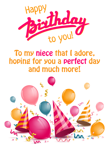 Happy Birthday To My Little Niece : happy, birthday, little, niece, Festive, Party, Happy, Birthday, Niece, Greeting, Cards, Davia