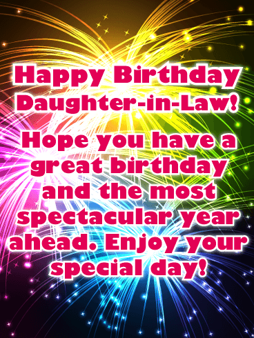 Animated Happy Birthday Daughter : animated, happy, birthday, daughter, Spectacular, Fireworks, Happy, Birthday, Daughter-in-Law, Greeting, Cards, Davia