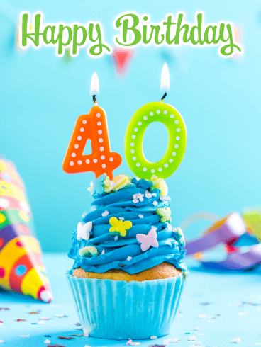 Awesome Cupcake Happy 40th Birthday Card Birthday Greeting