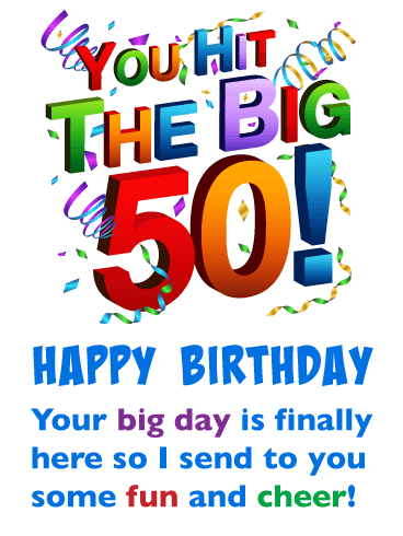 Happy 50th Birthday Funny : happy, birthday, funny, Cheer, Happy, Birthday, Greeting, Cards, Davia