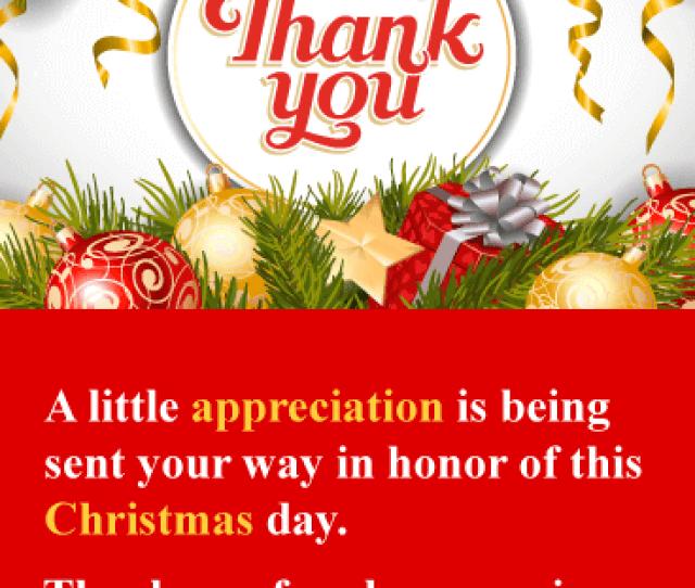 I Appreciate You Christmas Thank You Card