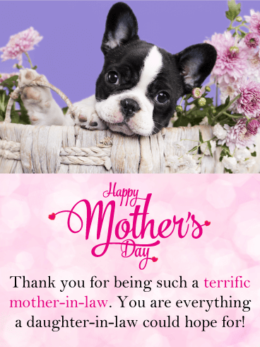Cute Puppy Happy Mothers Day Card For Mother In Law