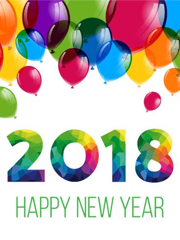colorful year balloon card