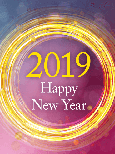 Sparking Happy New Year Card 2019 Birthday Amp Greeting