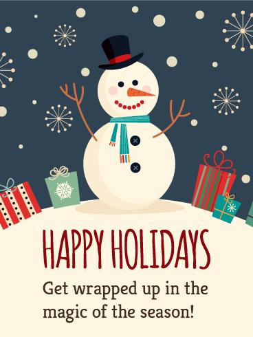 Happy Marshmallow Snowman  Happy Holidays Card  Birthday