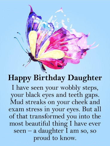 To My Beautiful Daughter Butterfly Happy Birthday Card