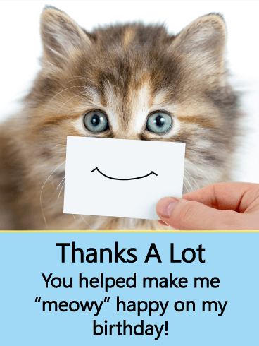 Thank You Cat Meme : thank, Thank, Birthday, Wishes, Greeting, Cards, Davia