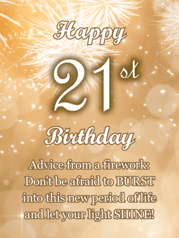 Advice From a Firework - Happy 21st Birthday Card | Birthday & Greeting Cards by Davia