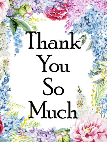 Gorgeous Flower Frame Thank You Card Birthday Greeting