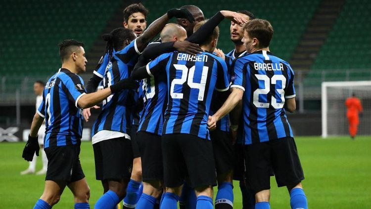Selebrasi Pemain Inter Milan Saat Lukaku Mencetak gol kontra Ludogorets di Liga Europa Copyright: twitter.com/Inter