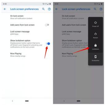 Fitur Lockdown mematikan pemindai sidik jari dan meminta pengguna memasukkan PIN atau pattern untuk membuka kunci perangkat.