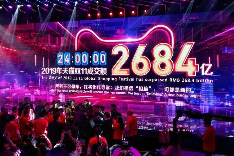 Transaksi penjualan Global Shopping Festival 11.11 Tahun 2019 ditutup dengan angka menembus 268,4 miliar Renminbi