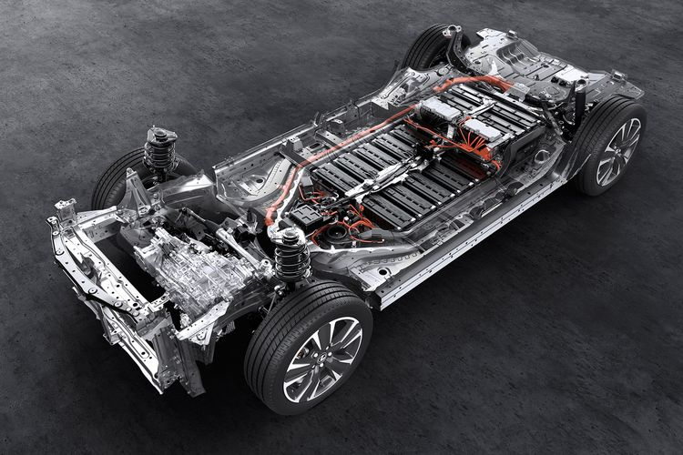 Chassis, battery, electric motor in Toyota pure electric car (BEV), Lexus UX 300e.